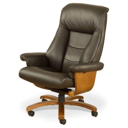 Espresso Leather Swivel Chairs Intended For Trendy Shop Mandal E Espresso Top Grain Leather Swivel Office Chair – Free (View 3 of 20)