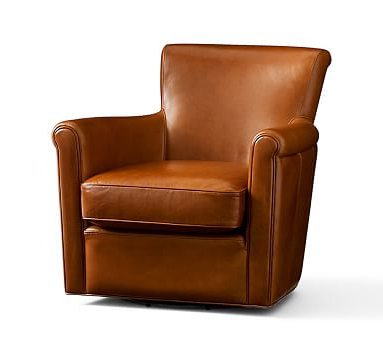 Espresso Leather Swivel Chairs With Regard To Favorite Irving Leather Swivel Armchair, Polyester Wrapped Cushions (Gallery 8 of 20)
