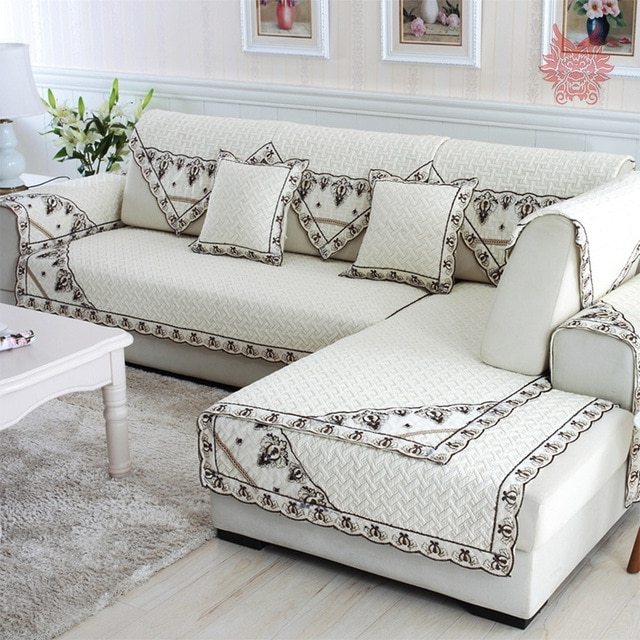European Style Cotton Quilted Sofa Cover Chair Slipcovers Canape Inside Popular Sofa And Chair Slipcovers (Gallery 1 of 20)