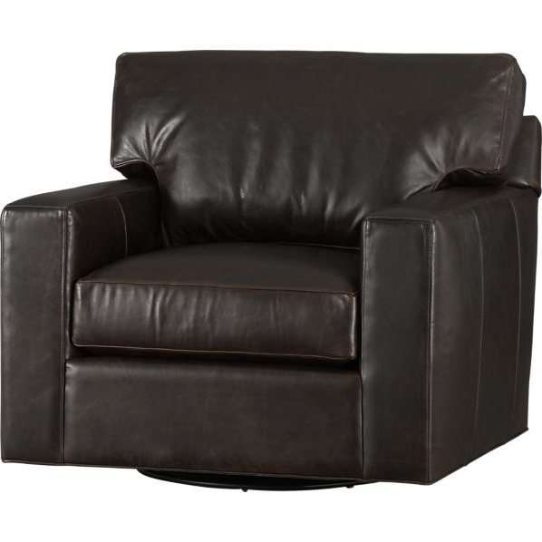 Famous Axis Ii Leather Swivel Chair Espresso Crate And Barrel Pertaining To Espresso Leather Swivel Chairs (View 8 of 20)