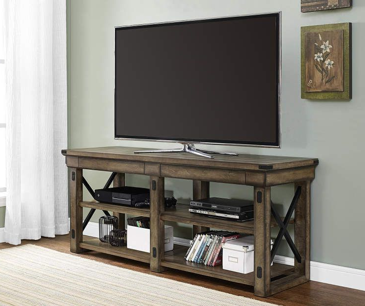 "Famous Big Lots Tv Stands With 65"" Rustic Gray Oak Tv Stand At Big Lots (View 11 of 20)"