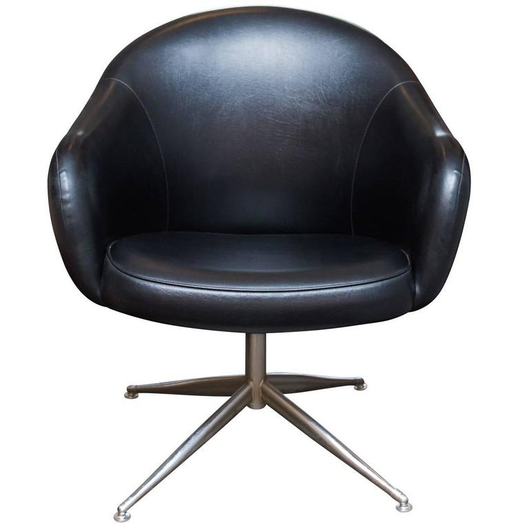 Famous Leather Black Swivel Chairs Throughout Vintage Baumritter Swivel Chair In Black Naugahyde At 1Stdibs (View 6 of 20)