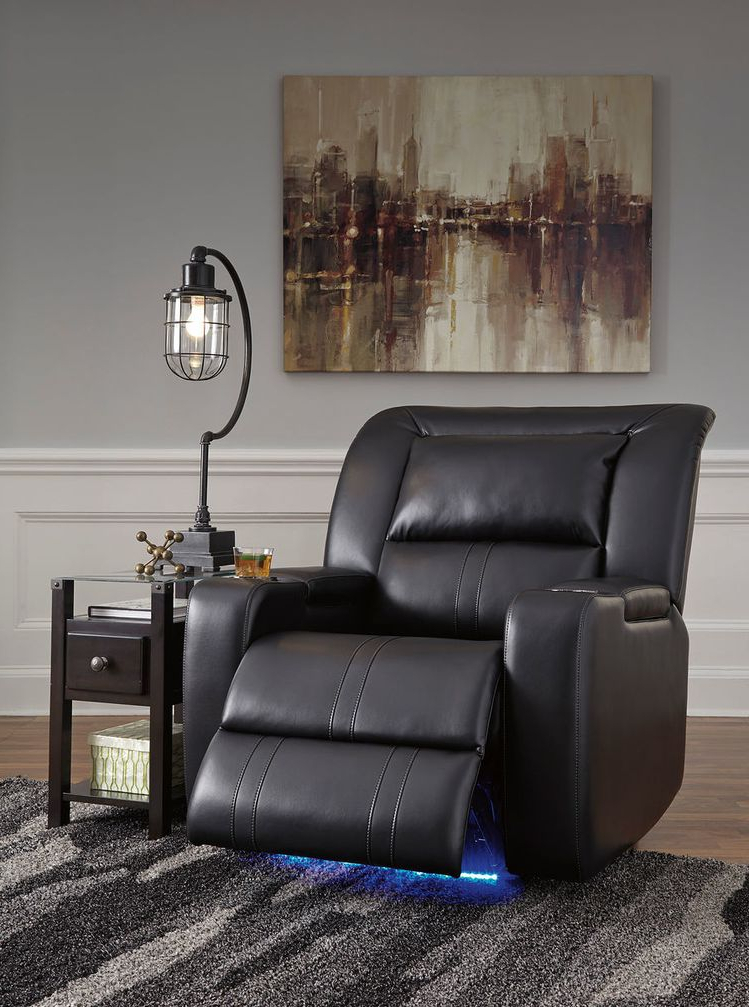 Famous Moana Blue Leather Power Reclining Sofa Chairs With Usb With Regard To The Dossman Midnight Power Recliner & Diamenton Chair Side (View 14 of 20)