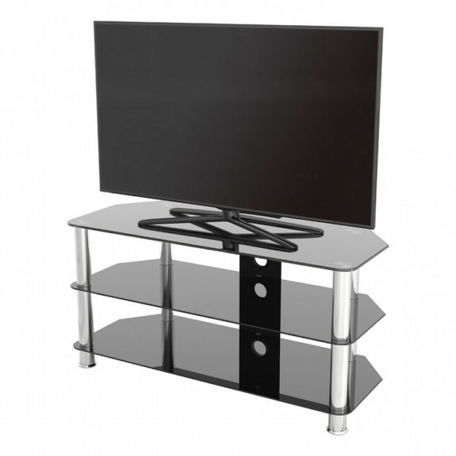 "Fashionable 100Cm Tv Stands Inside King Universal Black Glass Tv Stand 100Cm Suitable Up To 50"" Inch (View 9 of 20)"