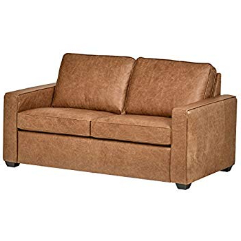 "Fashionable Amazon: Rivet Lawson Modern Angled Leather Sofa, 78""w, Driftwood Intended For Andrew Leather Sofa Chairs (View 5 of 20)"