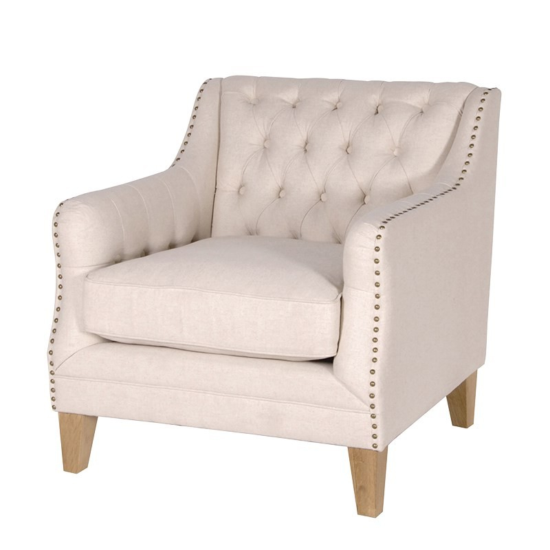 Fashionable Beige Studded Sofa Chair (View 4 of 20)