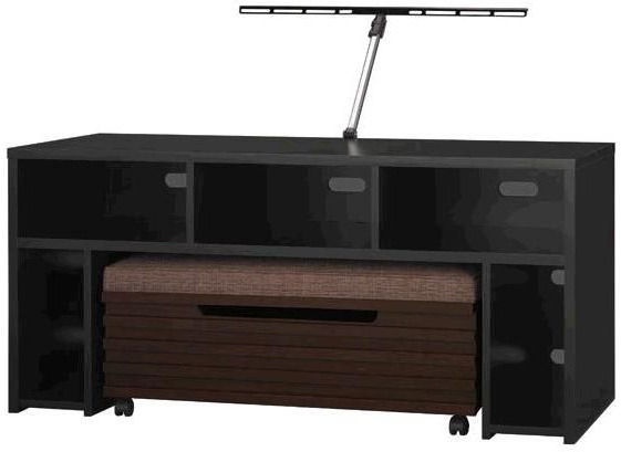 "Fashionable Bush Vs80950 03 Roam 58"" Tv Stand With Storage Bench In Black, Tv Pertaining To Bench Tv Stands (View 5 of 20)"