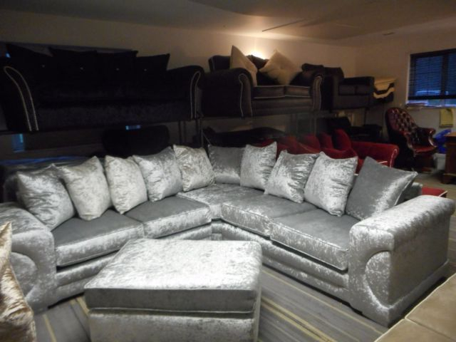 Fashionable Mansfield Graphite Velvet Sofa Chairs With Regard To Brand New Silver Crushed Velvet New Yorker Corner Suite / Corner (View 7 of 20)