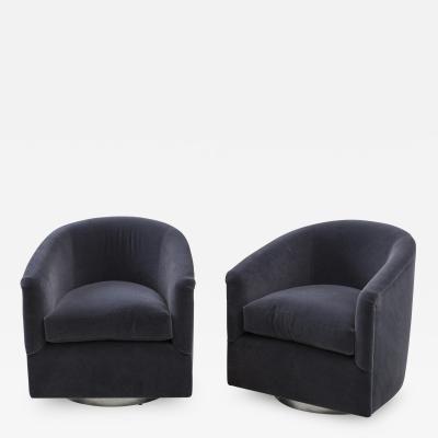 Fashionable Milo Baughman, Pair Of Dark Grey Swivel Chair, Usa, 1970smilo With Regard To Dark Grey Swivel Chairs (View 19 of 20)