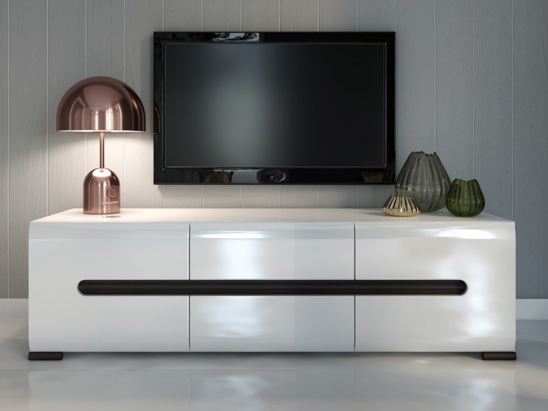Fashionable Tv Stand Cabinet Unit In White High Gloss Or Oak Azteca Living Room Pertaining To 150Cm Tv Units (View 4 of 20)