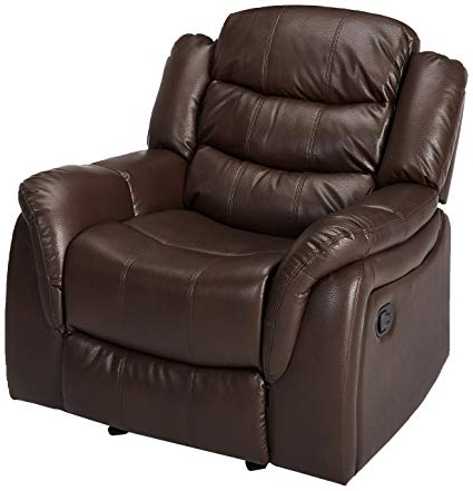 Favorite Amazon: Great Deal Furniture Merit Brown Pu Leather Glider Inside Dale Iii Polyurethane Swivel Glider Recliners (View 7 of 20)