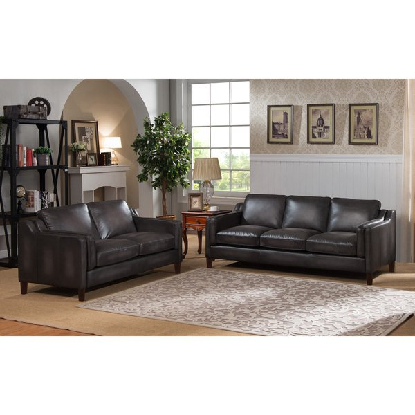 Favorite Ames Arm Sofa Chairs With Shop Ames Premium Hand Rubbed Grey Top Grain Leather Sofa And (View 8 of 20)