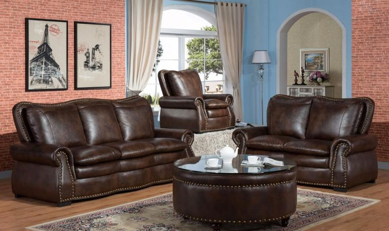 Favorite Brown Premium Leather Air Fabric Sofa Loveseat Chair Set 3Pcs Inside Sofa Loveseat And Chair Set (View 6 of 20)
