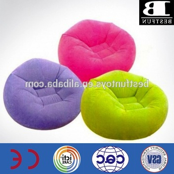 Flocking Inflatable Bean Bag Chair Plastic Custom Made Garden Round Throughout Most Current Round Sofa Chairs (View 16 of 20)