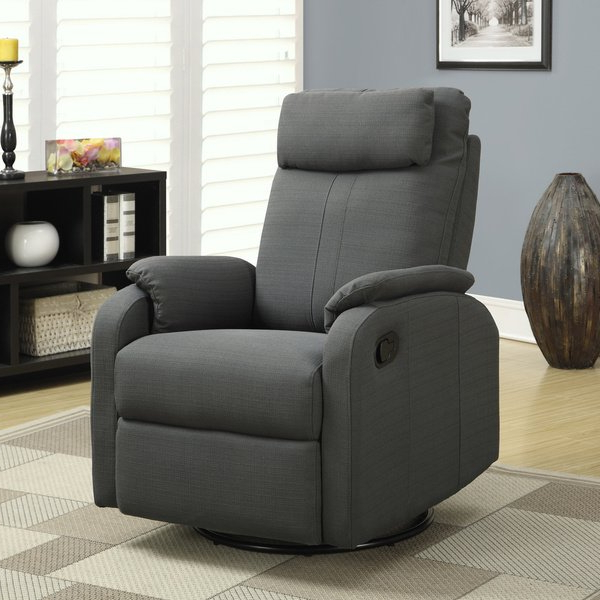 Gannon Linen Power Swivel Recliners Pertaining To Most Popular Shop Charcoal Grey Linen Fabric Swivel Rocker Recliner – Free (View 4 of 20)