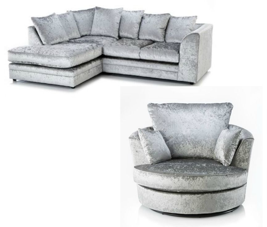 Gibson Swivel Cuddler Chairs Throughout Widely Used New Luxury Silver Crushed Velvet Byron Corner Sofa Rhf + Swivel (View 9 of 20)