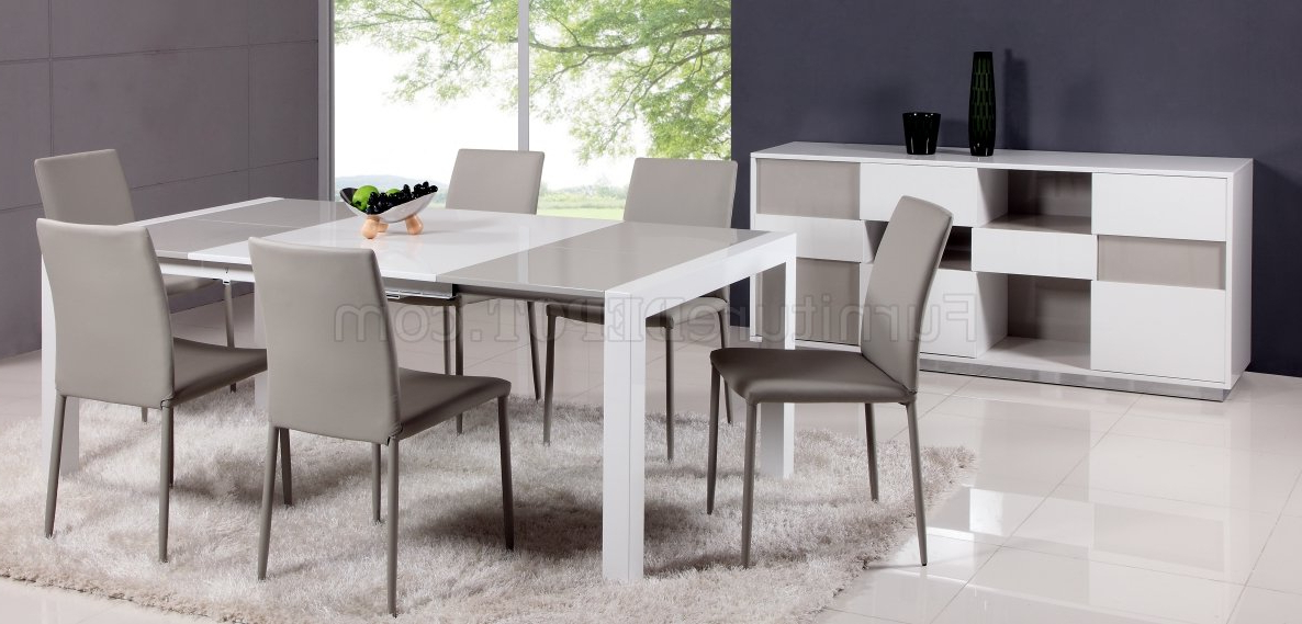 Gina Dining Table 5Pc Set In White & Greychintaly Pertaining To Current Gina Grey Leather Sofa Chairs (View 9 of 20)