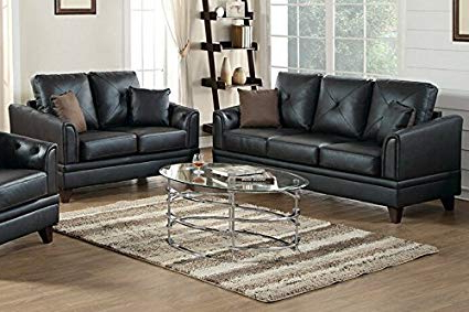 Gina Grey Leather Sofa Chairs Inside Widely Used Amazon: Gina 2 Pc Black Top Grain Leather Sofa Setpoundex (View 2 of 20)