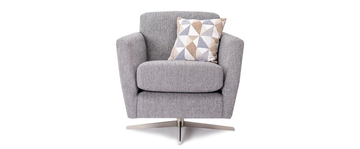Grey Swivel Chairs Pertaining To Current Juno Swivel Chair In Grey Fabric (View 5 of 20)
