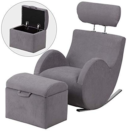 Hercules Oyster Swivel Glider Recliners Pertaining To Fashionable Amazon: Flash Furniture Hercules Series Gray Fabric Rocking (View 12 of 20)