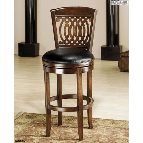 Hillsdale Furniture Vienna Tobacco Swivel Barstool With Black With Regard To Recent Swivel Tobacco Leather Chairs (Gallery 19 of 20)