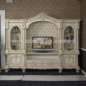 Italy Style European Classical White And Gold Colour Wooden Tv Stand Intended For Recent Antique Style Tv Stands (Gallery 6 of 20)