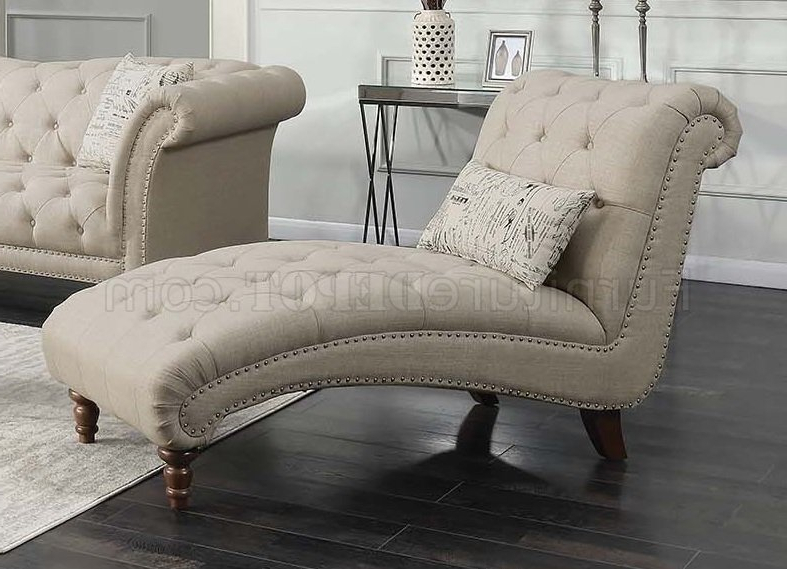 Josephine Sofa 508181 In Oatmeal Linen Like Fabriccoaster Pertaining To Famous Josephine Sofa Chairs (Gallery 15 of 20)