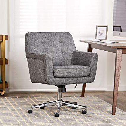 Katrina Blue Swivel Glider Chairs For Most Recent Amazon: Serta Style Ashland Home Office Chair, Twill Fabric (View 12 of 20)