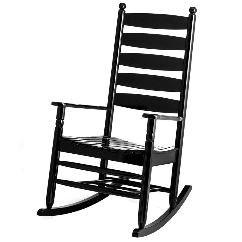 Katrina Blue Swivel Glider Chairs With Fashionable Ladderback Rocker – Black (View 16 of 20)