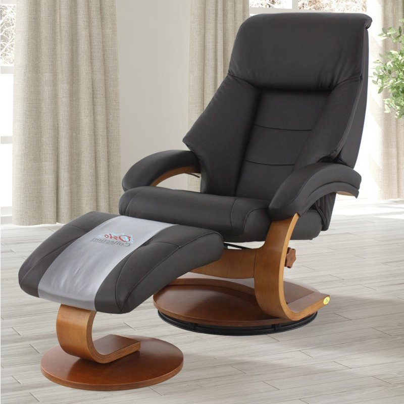 Latest Espresso Brown Top Grain Leather Swivel Recliner With Ottoman – Oslo Regarding Espresso Leather Swivel Chairs (View 14 of 20)