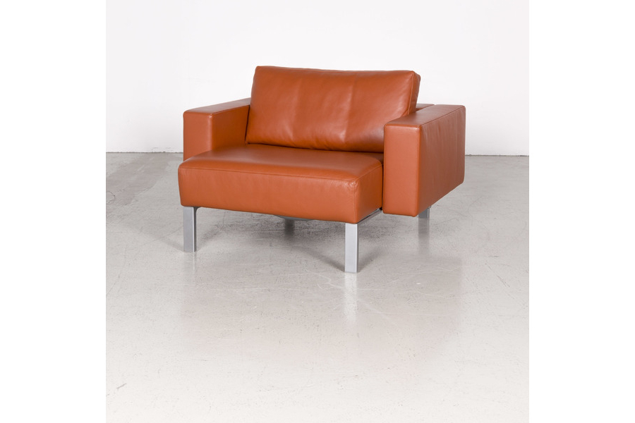 Latest Walter Knoll Nelson Designer Leather Armchair Orange Genuine Leather Within Walter Leather Sofa Chairs (View 7 of 20)