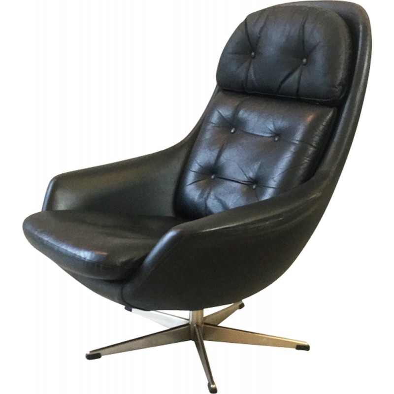 Leather Black Swivel Chairs Inside 2017 Vintage Scandinavian Swivel Chair In Black Leather – 1960S – Design (View 8 of 20)