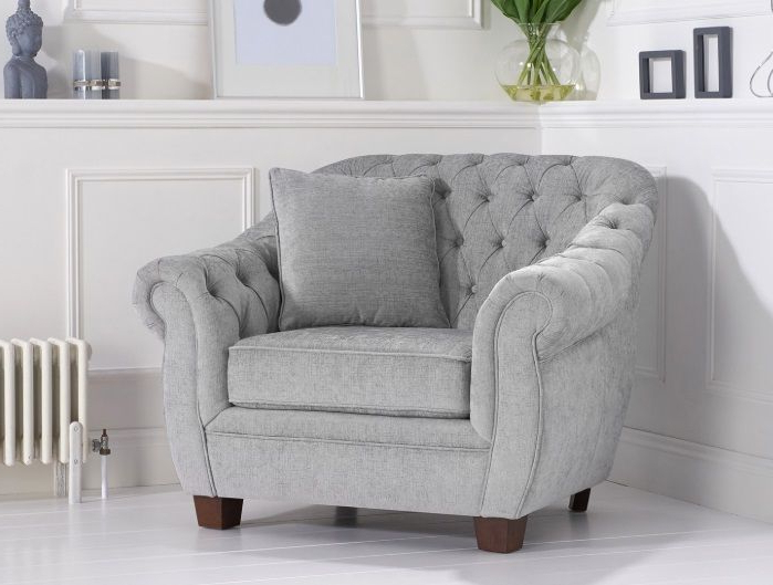 Liv Grey Plush Arm Chair For Well Known Liv Arm Sofa Chairs (Gallery 1 of 20)