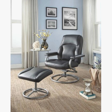 Living Room Furniture Within Best And Newest Amala Dark Grey Leather Reclining Swivel Chairs (View 20 of 20)
