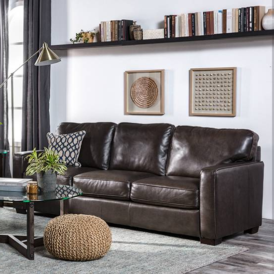 Living Spaces For Caressa Leather Dark Grey Sofa Chairs (View 13 of 20)