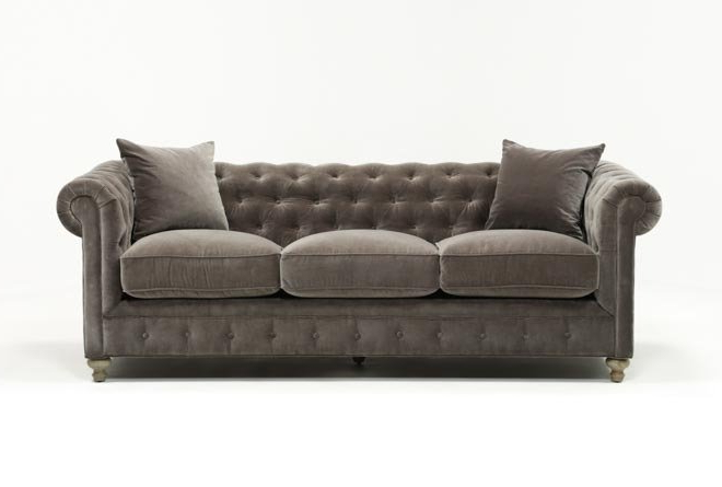 Living Spaces Intended For Mansfield Graphite Velvet Sofa Chairs (Gallery 1 of 20)