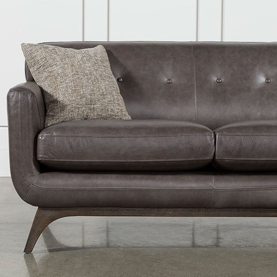 Living Spaces Within Popular Caressa Leather Dark Grey Sofa Chairs (View 14 of 20)