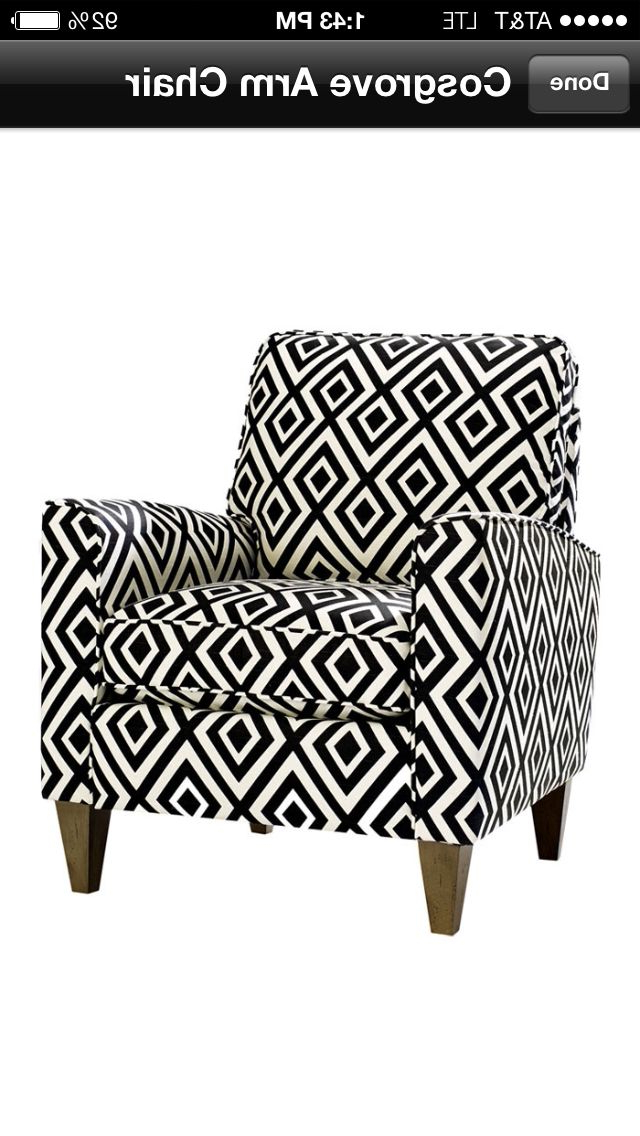 "Loft Black Swivel Accent Chairs Regarding Most Recently Released Cosgrove"" Mcm Inspired Black And Whit Geometric Print Armchair (Gallery 14 of 20)"