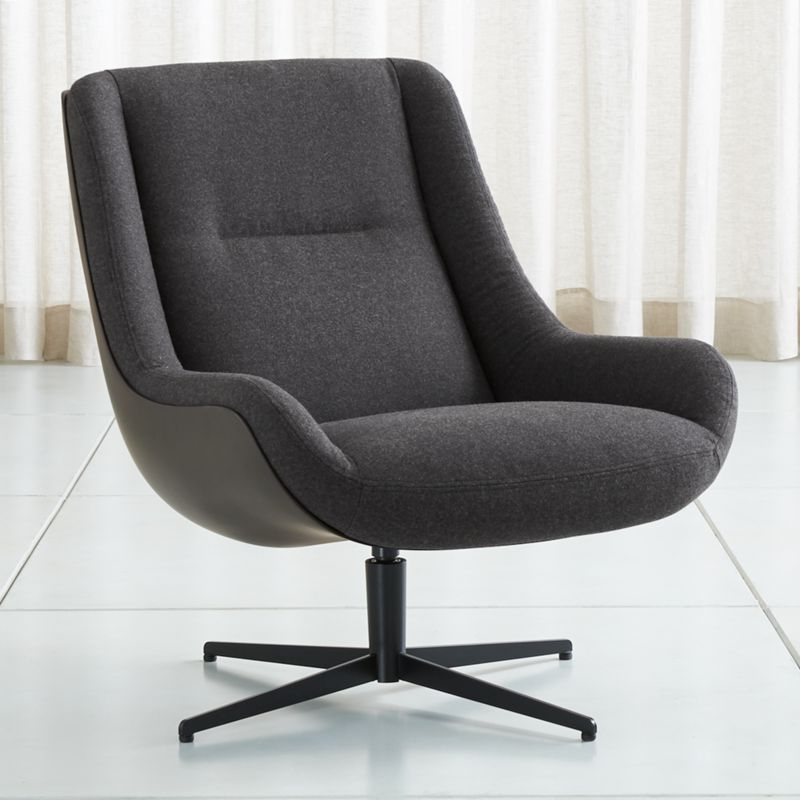 Lovebird Charcoal Swivel Chaircrate&barrel With Regard To Charcoal Swivel Chairs (Gallery 7 of 20)