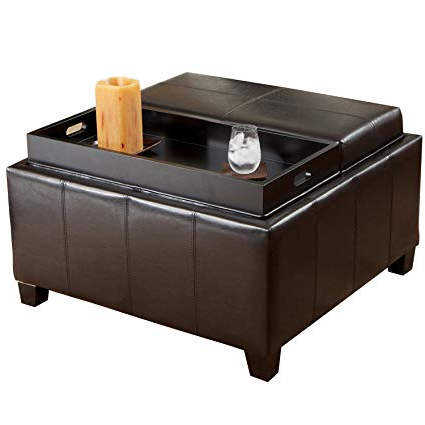 Mansfield Cocoa Leather Sofa Chairs With Newest Amazon: Best Selling Mansfield Leather Espresso Tray Top Storage (View 12 of 20)