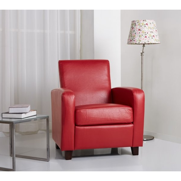 Mercer Foam Oversized Sofa Chairs For Latest Shop Abbyson Mercer Red Bonded Leather Club Chair – Free Shipping (View 5 of 20)