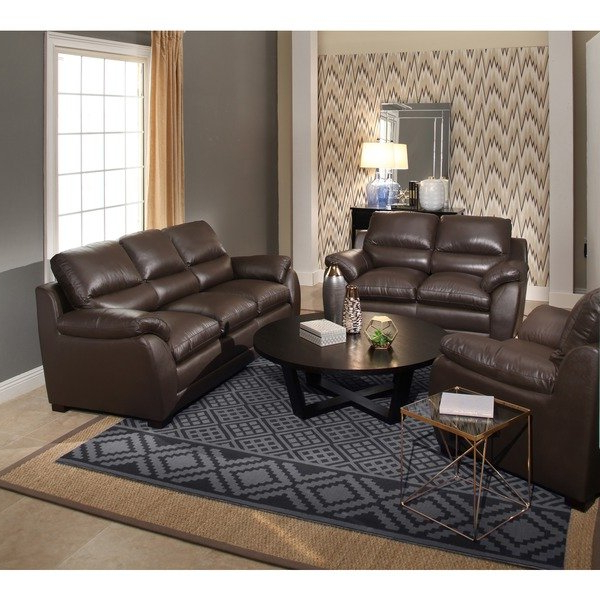 Mesa Foam Oversized Sofa Chairs Pertaining To Fashionable Shop Abbyson 'monarch' Top Grain Brown Leather Sofa And Loveseat (View 17 of 20)