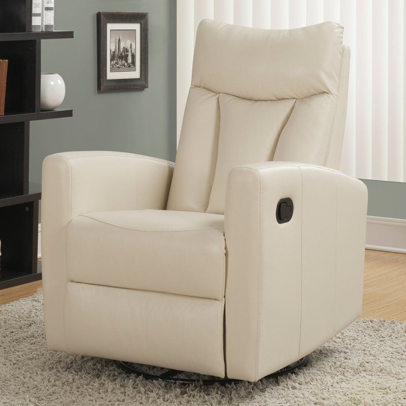 Monarch I 8087 Bonded Leather Swivel Glider Recliner Ivory – I With Regard To Newest Dale Iii Polyurethane Swivel Glider Recliners (View 12 of 20)