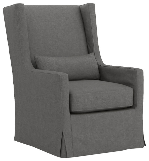 Most Current Charcoal Swivel Chairs In Heath Modern Classic Charcoal Swivel Wing Armchair – Modern (View 12 of 20)
