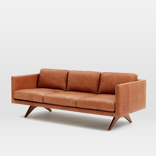 Most Current Chic Leather Sofa Furniture Hamilton Leather Sofa 81 West Elm For Elm Sofa Chairs (View 12 of 20)