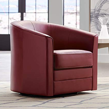 Most Current Espresso Leather Swivel Chairs Pertaining To Amazon: Keller Scarlet Red Bonded Leather Swivel Club Chair (View 16 of 20)