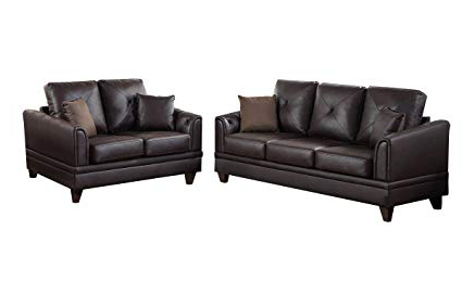 Most Current Gina Grey Leather Sofa Chairs Regarding Amazon: Gina 2 Pc Brown Top Grain Leather Sofa Setpoundex (View 3 of 20)