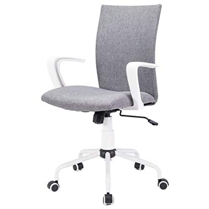 Most Current Grey Swivel Chairs Inside Amazon: Dj·wang Grey Modern Desk Comfort White Swivel Fabric (View 12 of 20)