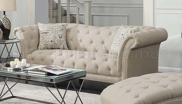 Most Current Josephine Sofa 508181 In Oatmeal Linen Like Fabriccoaster With Josephine Sofa Chairs (View 20 of 20)