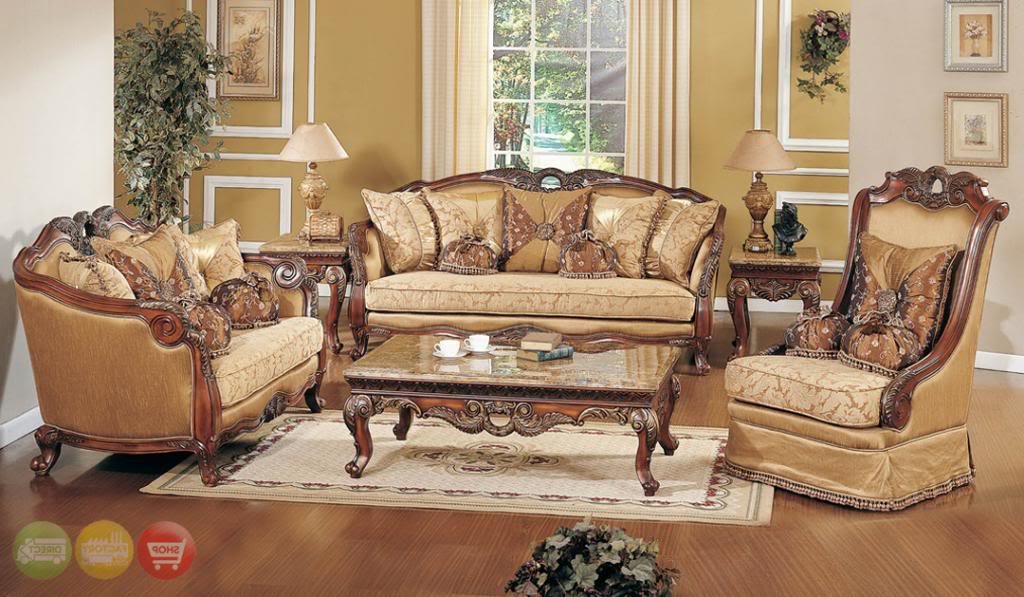 Most Current Living Room Sofas And Chairs Within Exposed Wood Luxury Traditional Sofa & Loveseat Formal Living Room (View 19 of 20)